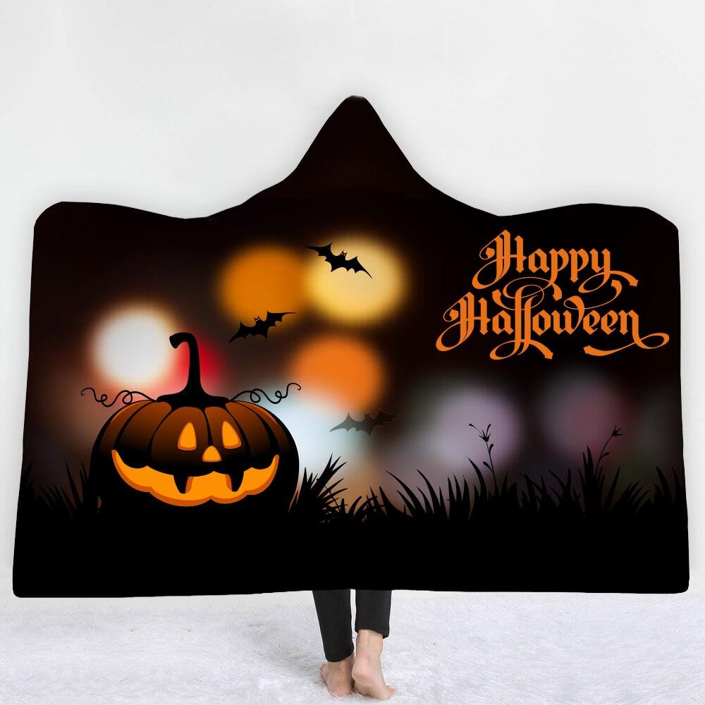 35colors Halloween horror Hooded Blanket Sherpa Fleece Ocean Blue Wearable plush Throw Blanket on Bed Sofa Thick warm B1015
