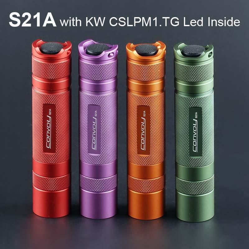Flashlight Torch Convoy S21A with KW CSLPM1.TG LED Inside S2+ Plus 21700 Version Flash Light Camping Fishing Work Lantern
