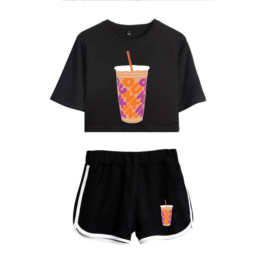 New Charli DAmelio Ice Coffee Splatter Women Two Piece Set Shorts+lovely T-shirt Sexy charli damelio merch Sport suit Girl