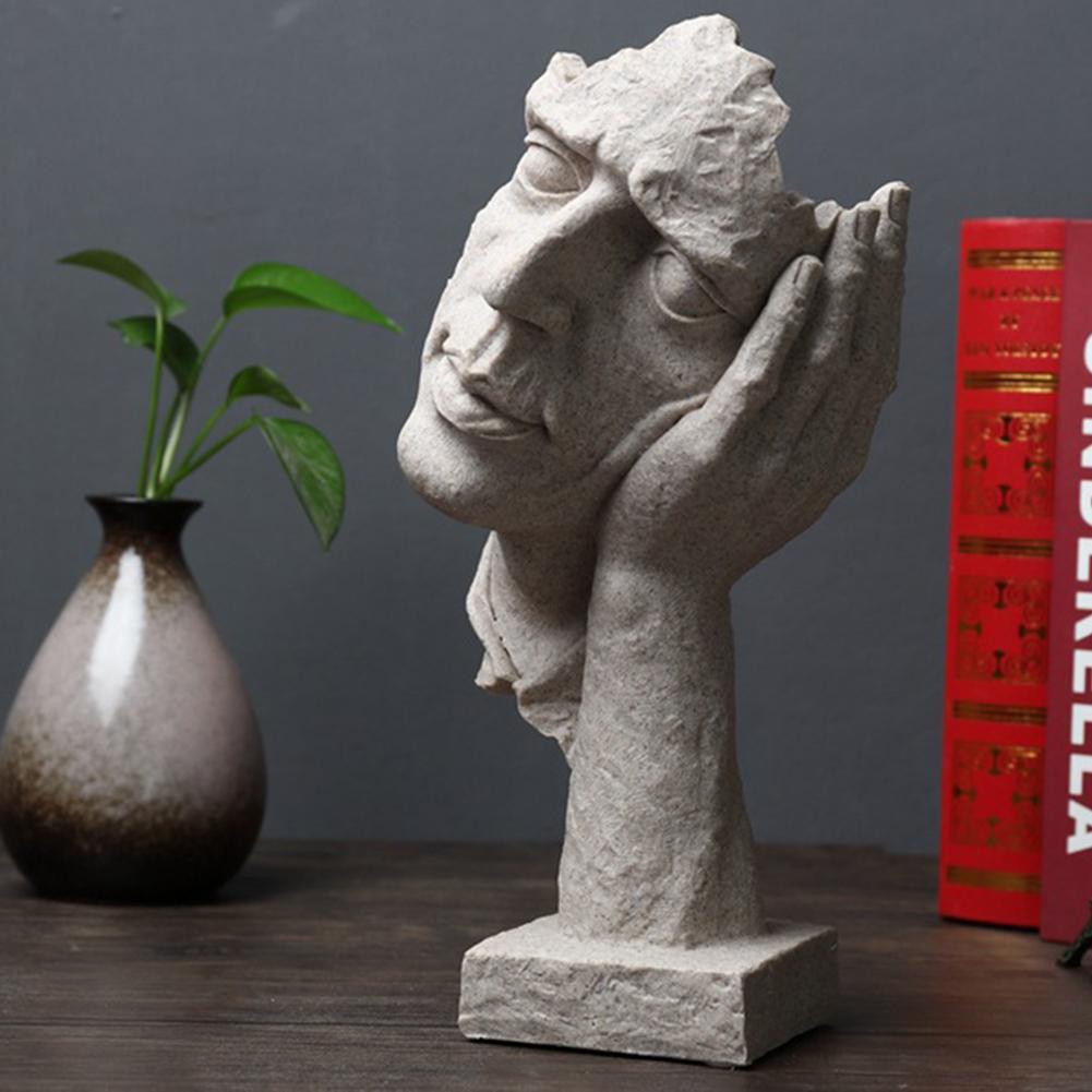 Escultura moderna arte escultura estátuas resina silêncio é ouro abstrato decoração artesanato estatueta ornamento decoração de escritório em casa