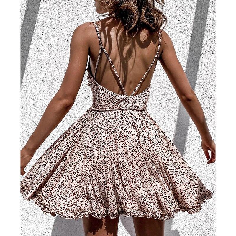 Ardm Sexy Floral Print Backless платье летнее женское2021 Ruffled Spaghetti Strap Summer Dress Vintage Party Mini Dress Vestidos