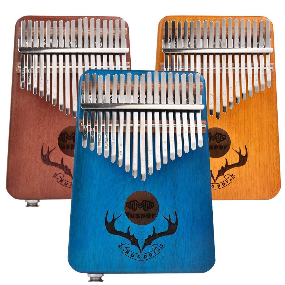 Piano de pulgar de caoba EQ kalimba, Piano de dedo Kalimba con afinador de pastilla eléctrica, teclado musical para principiantes con 17 teclas