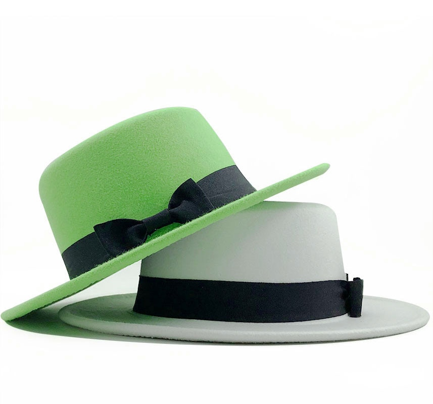 Chapéu de lã branca chapéu de chapéu de chapéu de chapéu de chapéu para mulher com aba larga