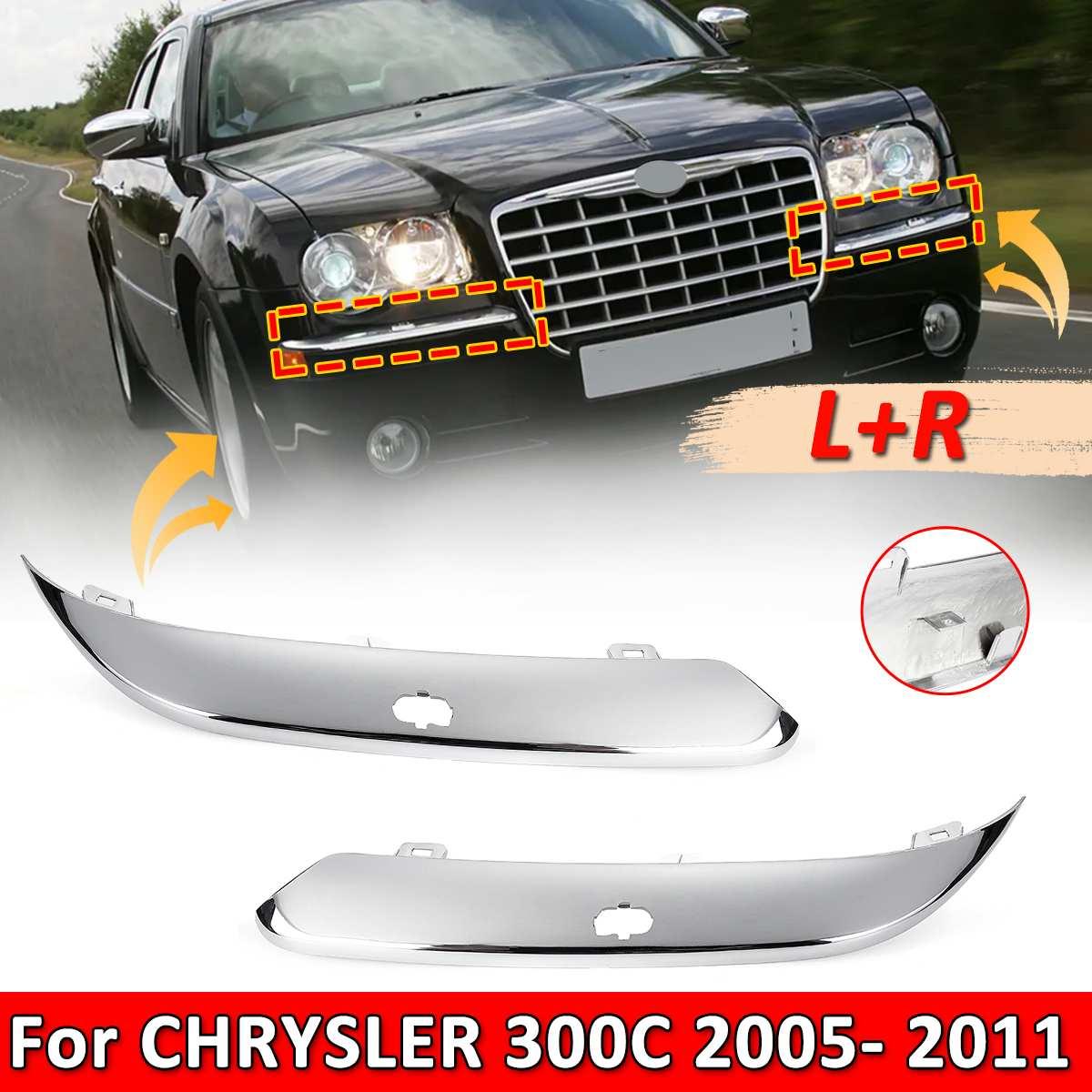 L + R coche ABS cromado parachoques delantero Foglight cubierta parachoques borde Protector tira para CHRYSLER 300C 2005-2011