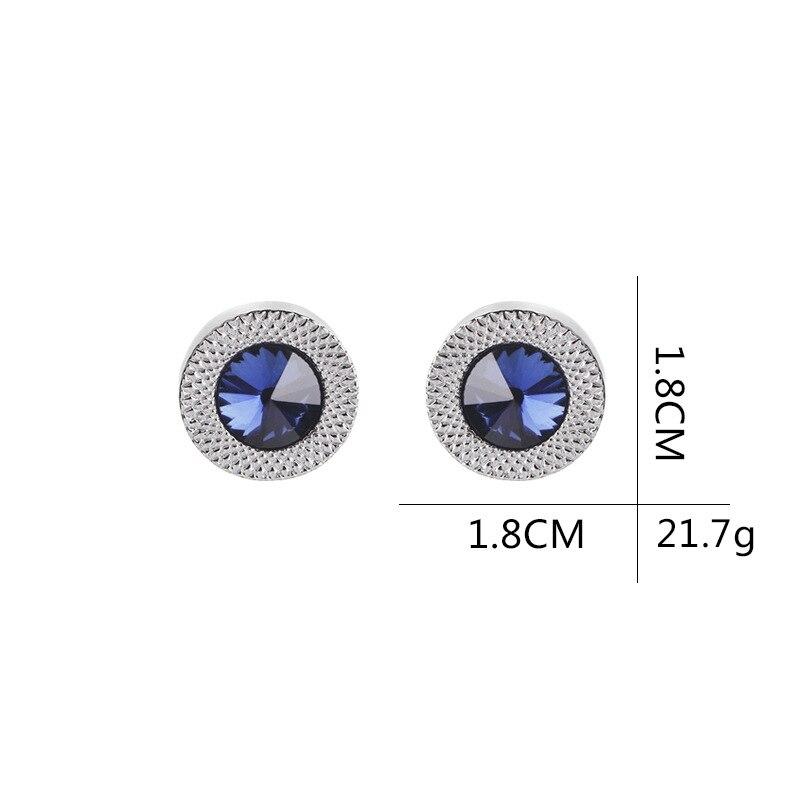 Мужские классические запонки с синими кристаллами, классические брендовые синие призматические запонки, высококачественные мужские запон...