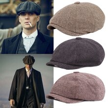 Men Beret Vintage Herringbone Gatsby Tweed Peaky Blinders Hat Newsboy Beret Hat Spring Winter Flat P