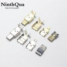 1/2/5 ensemble Nickel/plaqué or Micro USB 5PIN Type de soudage connecteur mâle chargeur 5P USB queue prise de charge 3 en 1 pièces métalliques