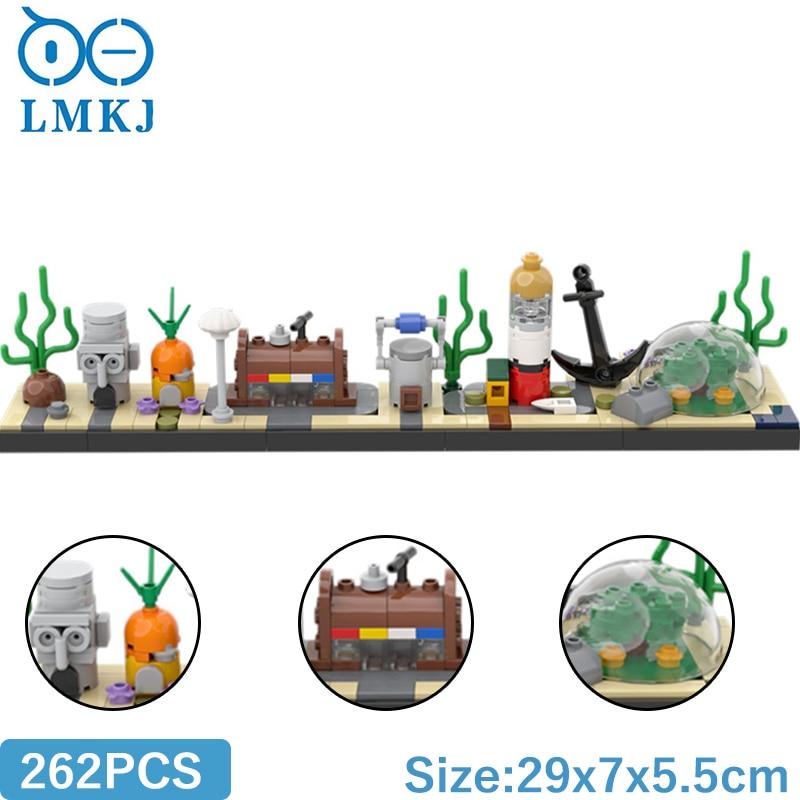 Мпц модульная здание Мпц блоки в мультяшном стиле, Skyline модель морского дна модульный Кирпичи Детские игрушки «сделай сам» для детей подарк...