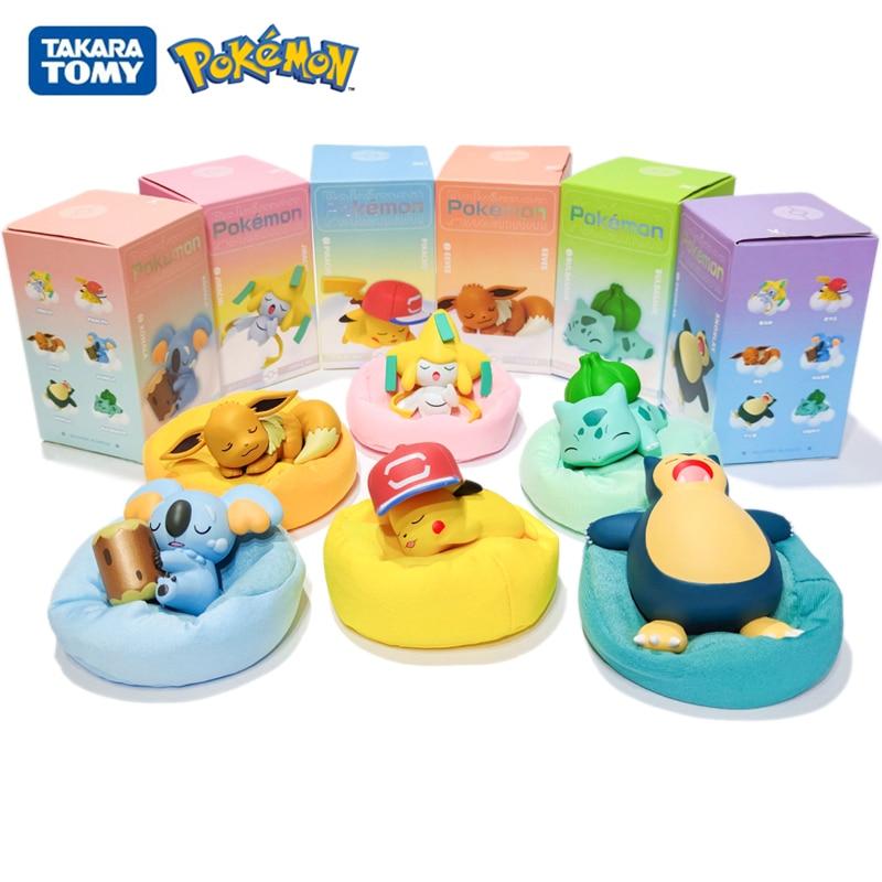 Genuine Pokemon Starry Dream Series Pikachu Jirachi Eevee Komala Snorlax Bulbasaur Anime Figures With Plush Base Model Dolls Toy