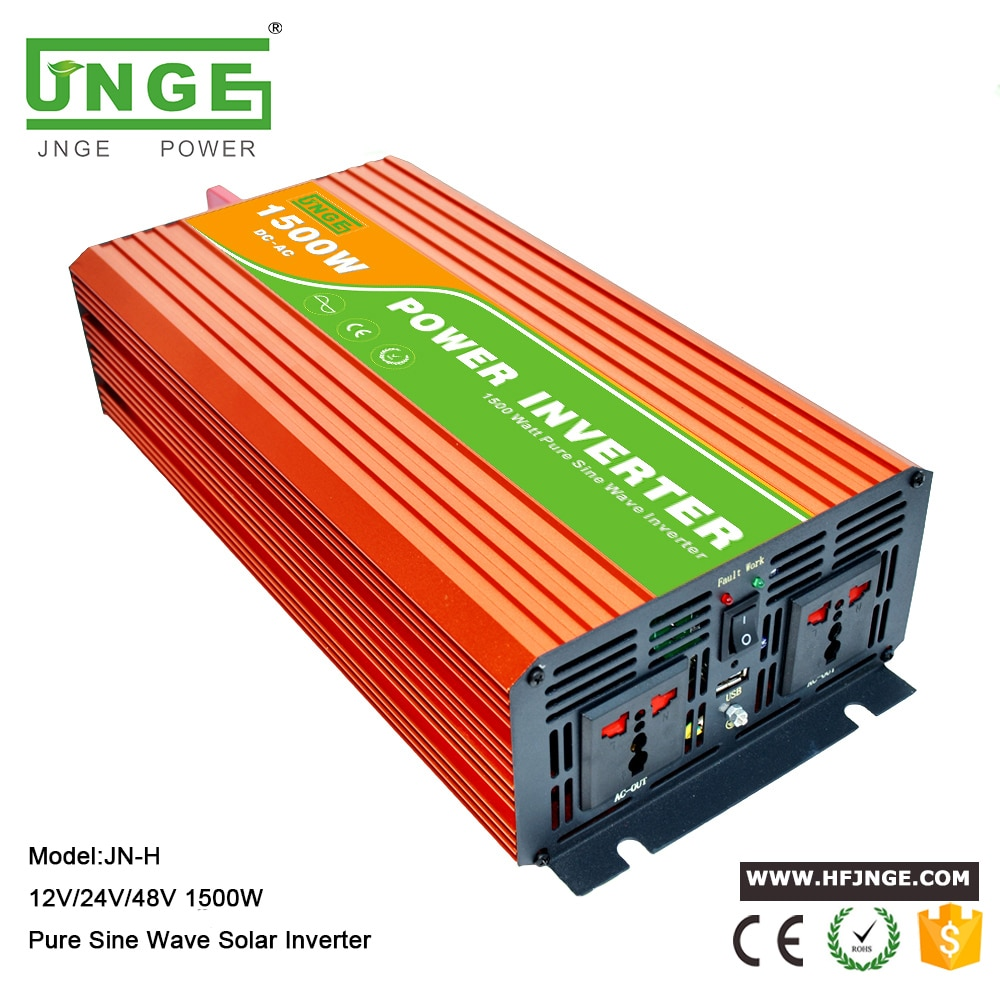 JNGE مصنع تعزيز نقية شرط موجة محول طاقة 1500 واط 12 فولت 24 فولت 48 فولت 110VAC 120VAC 220VAC 230VAC الشمسية العاكس