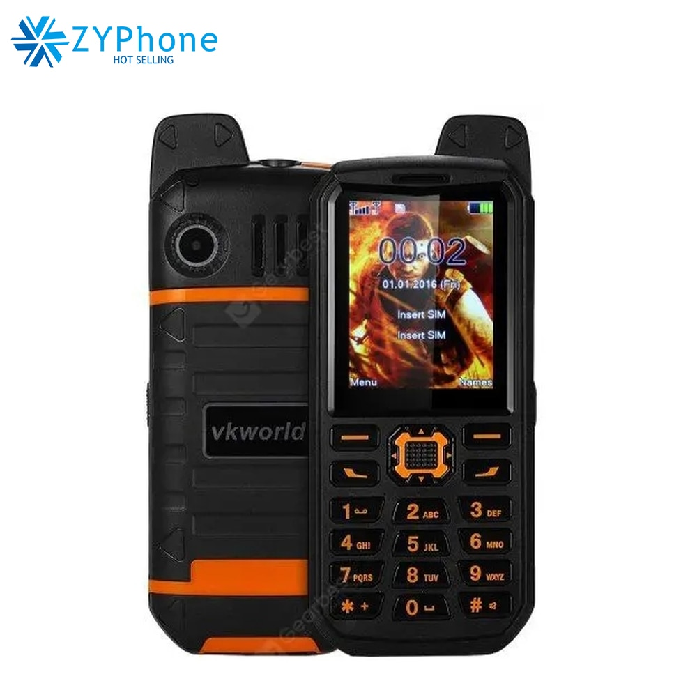WaterProof Power Bank Mobile Phone Flashlight Big Speaker Dual SIM MP3 Outdoor Rugged 2.4 Inch Cell phone Vkworld Stone V3
