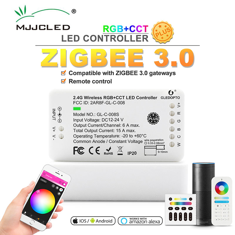 MJJCLED Control remoto Zigbee Controlador Led RGB + AAC DC12/24V con Zigbee 3,0 inteligente Aplicación de teléfono de Control de