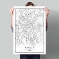 poland black white world city map poster nordic living room warsaw szczecin wroclaw wall art pictures home decor canvas painting