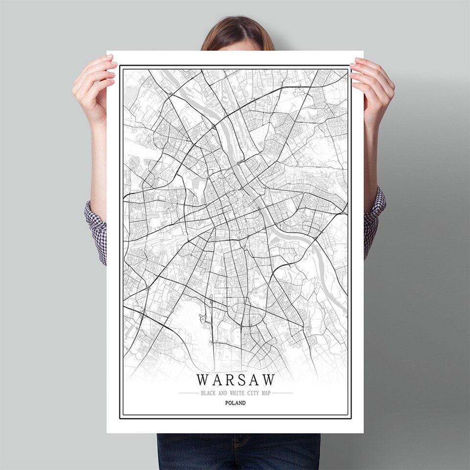 Mapa de la ciudad del mundo de Polonia, blanco y negro, cartel nórdico, sala de estar