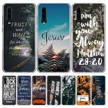 Funda de móvil con versículo bíblico Jesucristo cristiano para Huawei P40 P30 P20 Mate 30 20 10 Pro P10 Lite P Smart Z + 2019 Coque She
