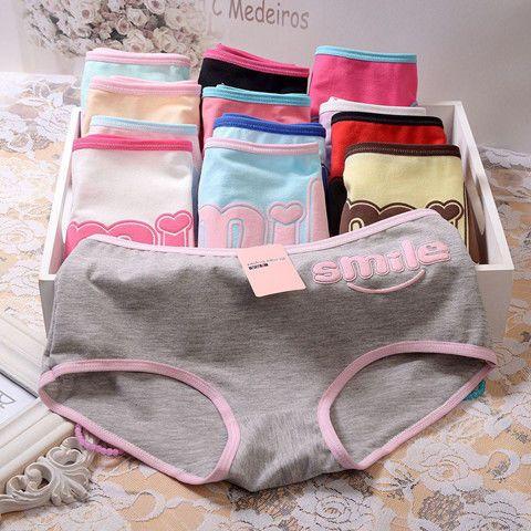 4/pièces sous-vêtements en coton pour adolescentes   Sous-vêtements de lycéennes, culottes pour filles, culottes de taille pour filles