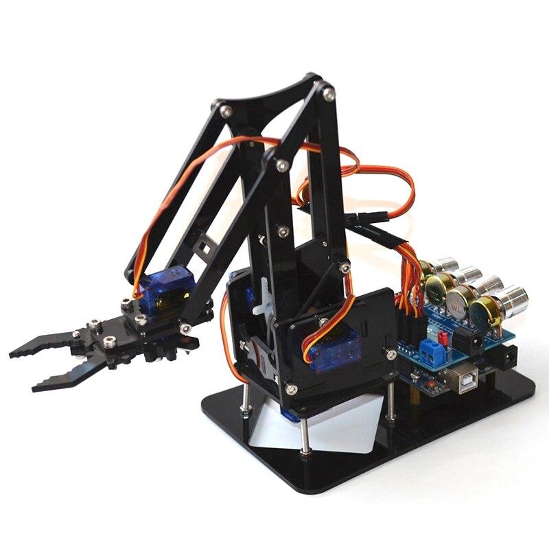 DIY brazo de Robot acrílico Garra Para Arduino Kit 4DOF juguetes manipulador de agarre mecánico DIY SNAM1900