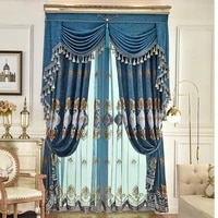 europe and america high quality villa velvet curtains for living room windows with luxurious elegant voile curtain for bedroom
