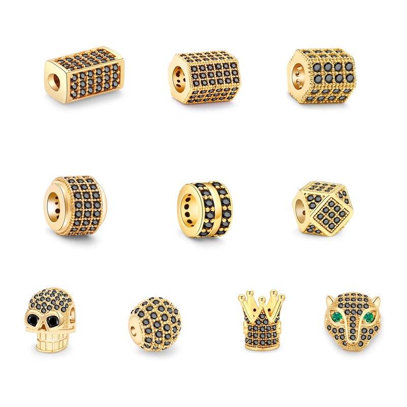 Cuentas de calavera de bola redonda para fabricación de joyas, abalorios de...