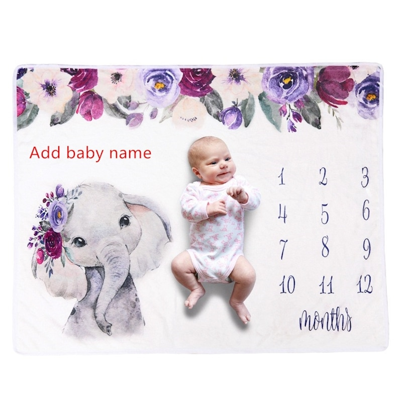 Newborn Name Personalised Milestone Blanket Elephant Infant Swaddle Crib Bedding Blanket Birthday Gift Photography props