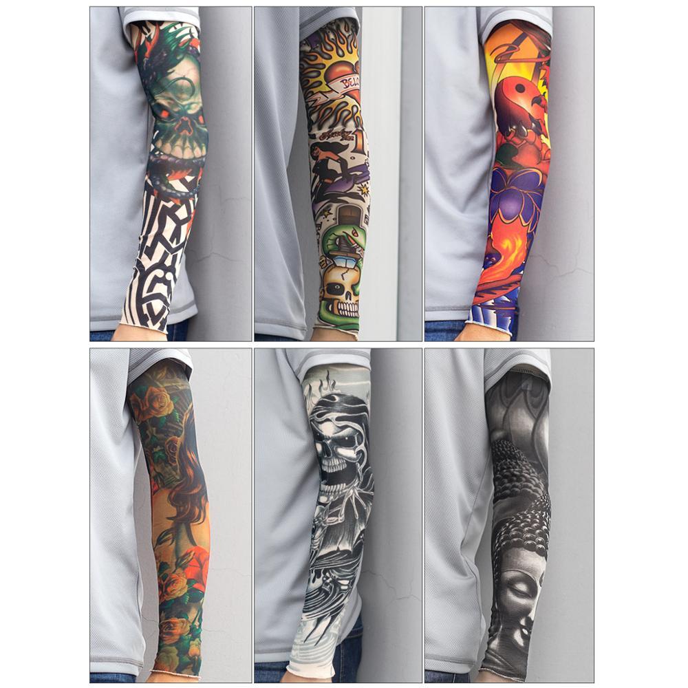 Funda para brazo tatuaje manga falsa con suturas protección solar funda para brazo de bicicleta