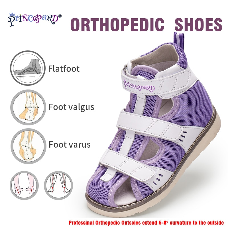 Princepard Children Flat Sandals for Girls Boys Orthopedic Shoes Arch Support Apring Summer Closed Toe Toddler Kids