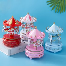 Fashion Home Cake Decoration Novelty Merry-Go-Round Music Box Model Handicrafts Kids Enlightenment T
