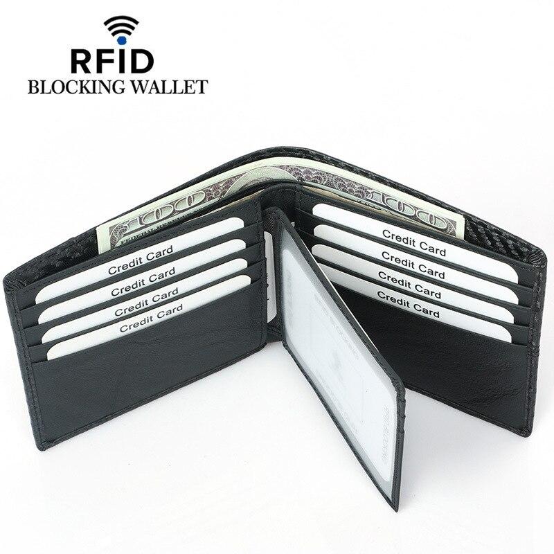 Nuevo soporte de tarjeta de crédito de cuero de la PU de la fibra de carbono tri-fold RFID bloqueo de la cubierta de la cartera de licencia de conducir