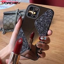 Funda de teléfono con espejo de maquillaje brillante para iPhone, carcasa de silicona de lujo a prueba de golpes para modelos 12, 11 Pro MAX, Mini, X, XS, XR, 8, 7 Plus, SE 2, 2020