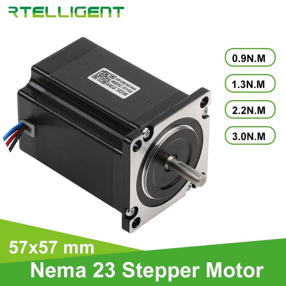 Rtelligent-محرك متدرج 57A3 Nema 23 ، 1/ 2.2/ 3N.M ، 4 أسلاك ، عمود D ، 57 مللي متر ، شفة ، لآلة الطحن والنقش CNC