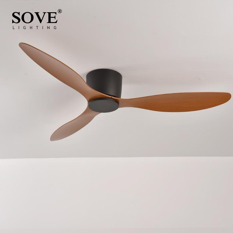 Sove ventilador de teto moderno de piso baixo com controle remoto, ventilador de teto simples sem luz dc 30w com controle remoto de casa, ventilador sem luzes 220v