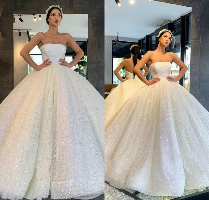 2020 hermosos vestidos de novia árabes Bling lentejuelas sin tirantes de talla grande vestido de boda brillante princesa nupcial Gow