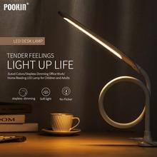 Longue lampe de Table à bras Led Flexible col de cygne tactile gradation lampe de bureau pince sur lampe pour la lecture chambre lumière Led 3 Modes de couleur