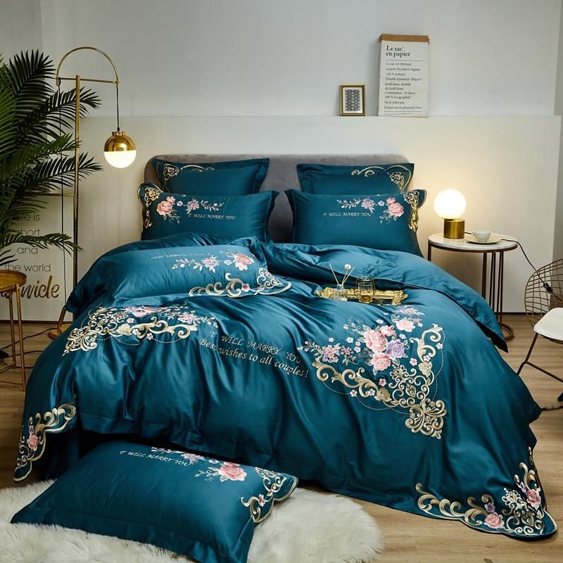 600TC ropa de cama de algodón egipcio juego de cama bordado elegante tamaño King Queen ropa de cama funda de edredón juego de sábanas fundas de almohada
