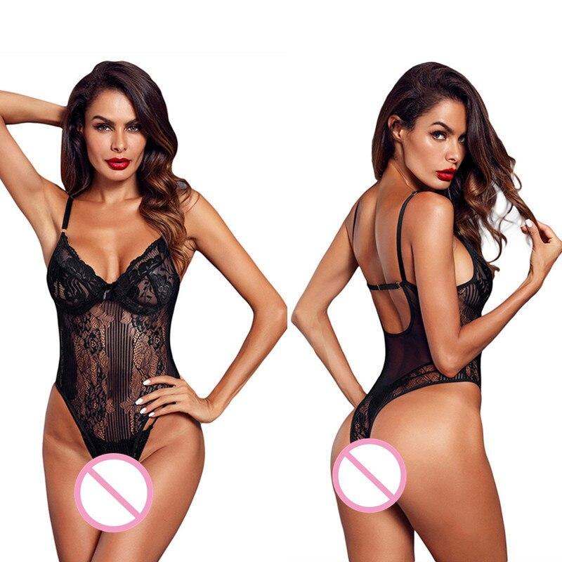 Bodi de encaje con lazo porno para mujer sin espalda transparente sexy body jumpsuit pelele catsuit bodysuits slim overoles artículos íntimos