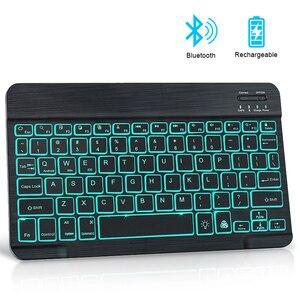 Мини Bluetooth клавиатура RGB Беспроводной клавиатура с Подсветка Russain ноутбук ipad клавиатура для мобильного телефона ноутбук ПК компьютер