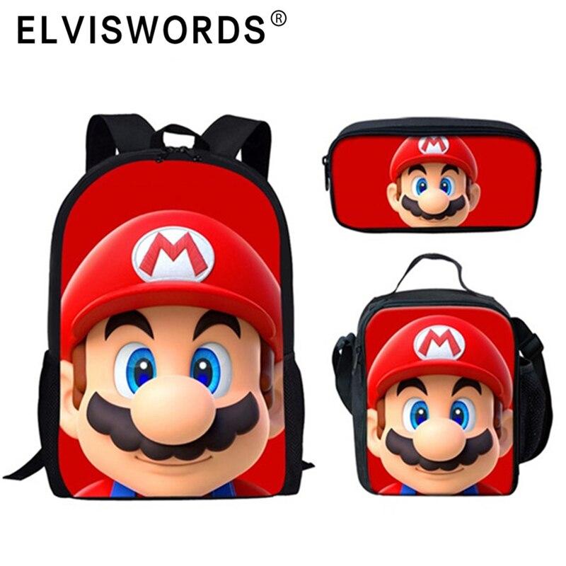 Conjunto grande de mochilas escolares de ELVISWORDS para niños, Mochila para niños, Mochila escolar con estampado de Super Mario Bros para niños, Mochila escolar
