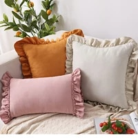 solid cushion cover pink grey brown home decorative pillow cover ruffle soft faux suede 45x45cm30x50cm for sofa bed living room