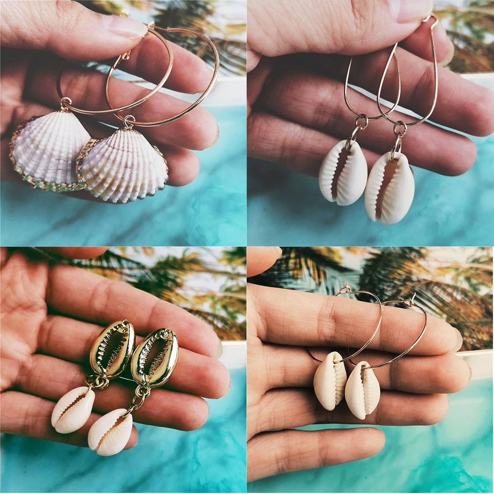 ¡Novedad de 2020! Pendientes Vintage de conchas con conchas de Metal para mujer, Pendientes colgantes redondos bohemios, joyería Brincos de verano para la playa