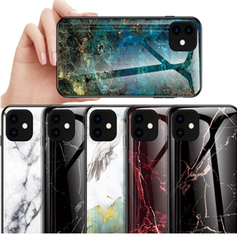 Funda de cristal templado de mármol de lujo para Funda iPhone 11 Pro Funda para iPhone 6 6S 7 8 Plus 5 5S SE XR X XS MAX Protector