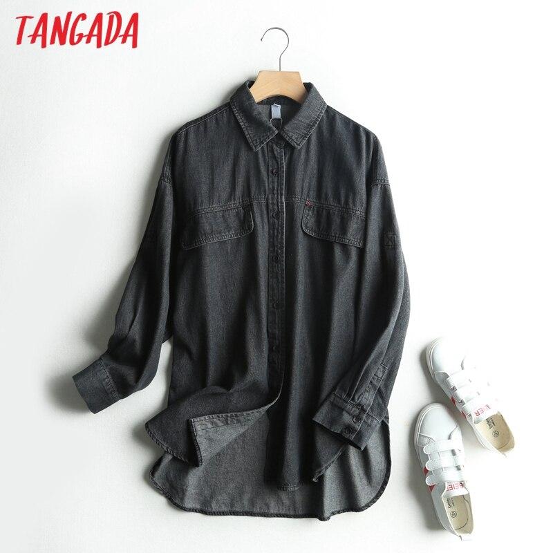 Tangada women retro oversized black denim blouse long sleeve chic female casual loose shirt blusas femininas 3S12