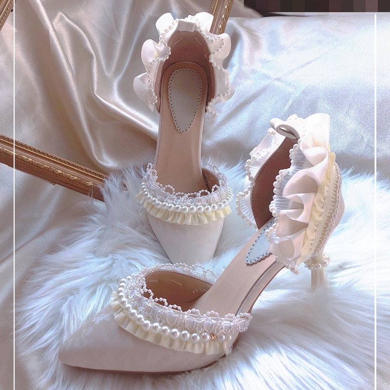 Lady 2021 Summer Women's Shoes Lace Thin Heels High Heel Shallow Mouth Single Shoe Ankle Strap Pearl Pumps Party Sandalias Mujer