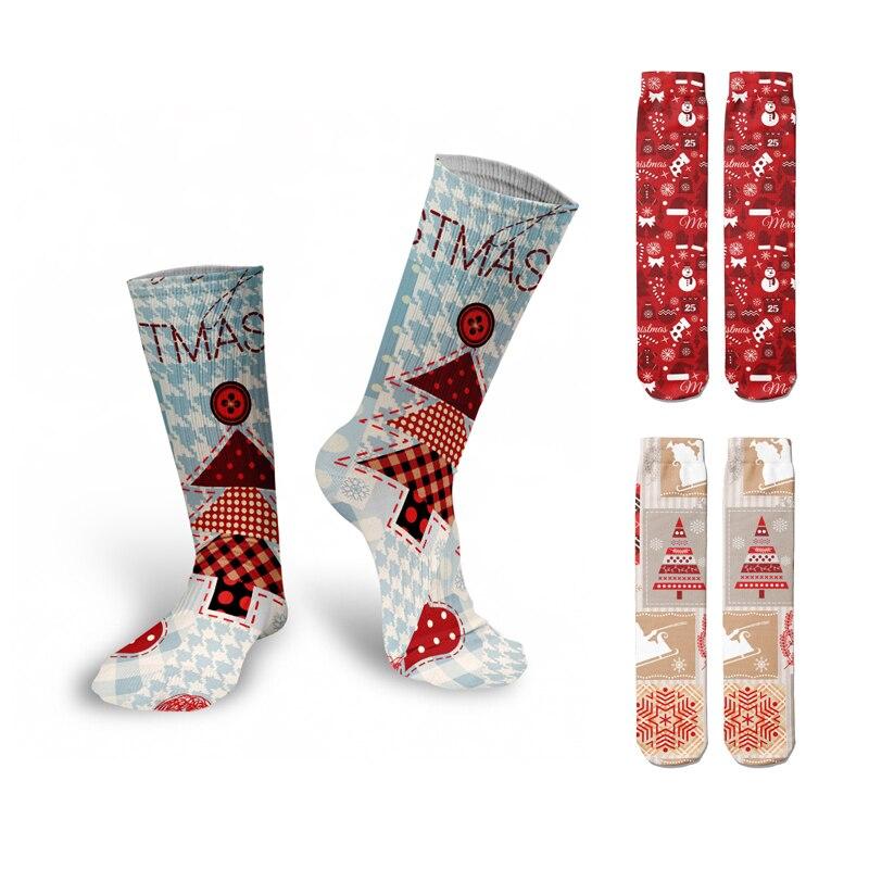 Рождественские и новогодние длинные носки, подарки для детей, зимние милые Компрессионные носки унисекс, модные смешные подарочные носки в ...
