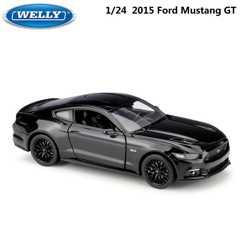WELLY fundición 124 escala 2015 Ford Mustang GT modelo clásico coche de deportes de aleación de coche de juguete para chico regalos de