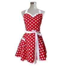 Tabliers de cuisine rétro rouge femme   En coton, motif à pois, Salon de cuisine, tablier Vintage robe cadeau