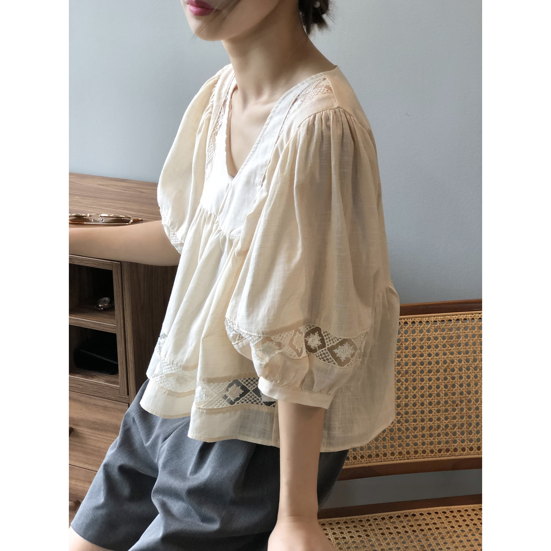 v-neck shirt female summer new lace women loose blouses 0923#