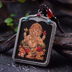 Ásia Índia GANESH Ganesha Greco-Budista abençoe bolso viagem eficaz Da Mascote Tibete Auspicioso Buda Amuleto Pingente cartão