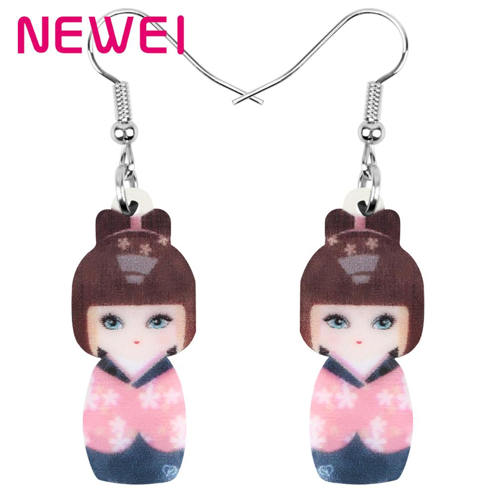 NEWEI, pendientes de acrílico de muñeca japonesa para niña, joyería colgante de gota para mujeres, niñas, adolescente Niño, abalorio decorativo para regalo, accesorio a granel