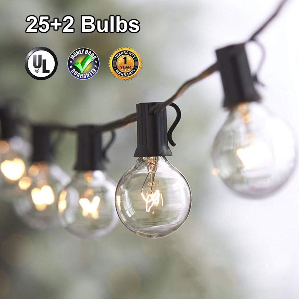 DCOO Patio exterior Luz de cadena 25 bombillas G40 globo claro UL certificado para patio trasero boda reunión fiestas decoración de mercados