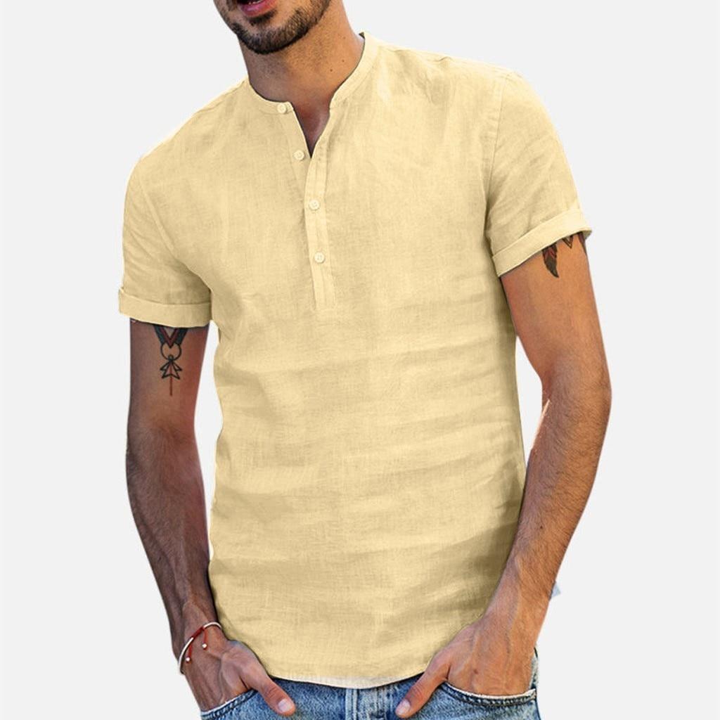 2021 Summer Men's Baggy Cotton Linen Soid Color Short Sleeve Retro T Shirts Tops Bohemia Casual Shirt Holiday Vacation Clothing